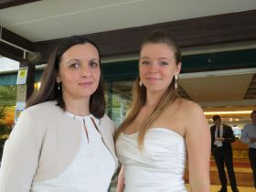 Patricia Szebenyi aged 20 and Ana Maria Komaromi (a teacher) from the Szeged school (Hungary)