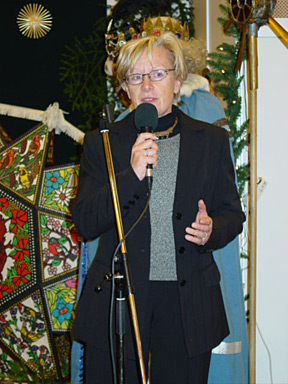 Christiane Keller, founder of Christmas in Europe, tells the participants of her joy at being in Bad Ischl.