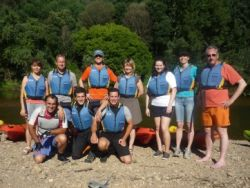Ready to canoe down the river Mondego
