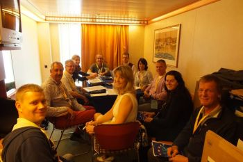 In cabin 8262 on deck 8 of the Costa Mediterranea, all members of the Presidium met up to finalise the last details of the following day's General Assembly.