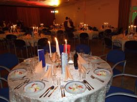 The tables are set of the evenings festivities