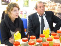 Jacques Dalprat and the stand of Spicol , the School's supplier, displays its spices