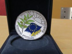 The attractive medal with the colours of Europe