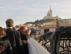 View from the foot-bridge with Notre dame de la Garde church in the background