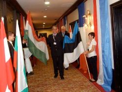 The row of flags in the corridor leading to the exhibition