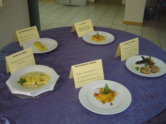 Dishes prepared at the competition for restaurant chefs